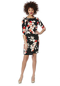 Roman Originals Floral Print Dress - Black & Red