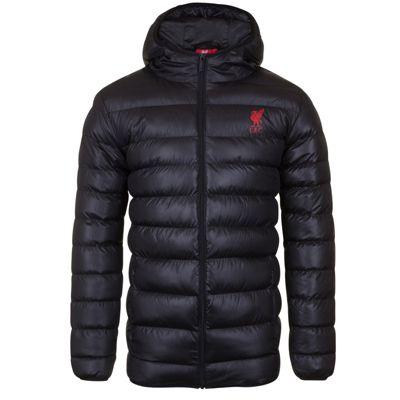 Liverpool FC Mens Quilted Jacket Black Medium