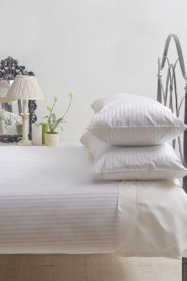 Belledorm 540 Hotel Stripe White Single Duvet Cover Set