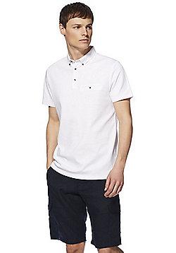 F&F Premium Button-Down Collar Polo Shirt - White