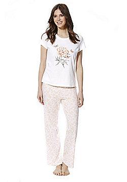 F&F Peony Print Jersey Pyjamas - Pink & White