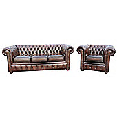Chesterfield London 3+1 Leather Sofa Suite Antique Brown