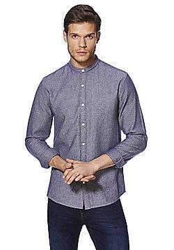 F&F Herringbone Grandad Collar Shirt - Blue