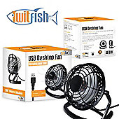"Twitfish Plastic USB Desk Fan 4"" - Black"