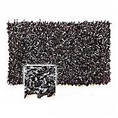 Homescapes Dallas Leather Shaggy Rug Black, 120 x 180 cm