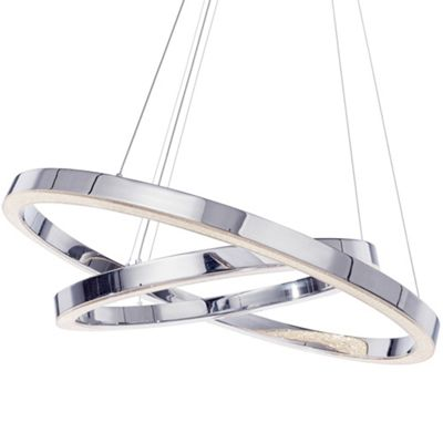 Litecraft Knight LED 2 Tier Ring Ceiling Pendant, Chrome