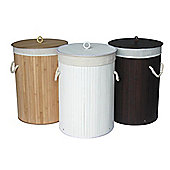 Woodluv Round Floding Bamboo Laundry Basket with Removable Lining- Brown