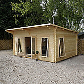 Single Glazed Contemporary Wooden Log Cabin, 44mm, 13x17ft