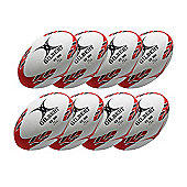 Gilbert VX300 Trainer Rugby Balls, 8 pack, Size 5, Red/Black