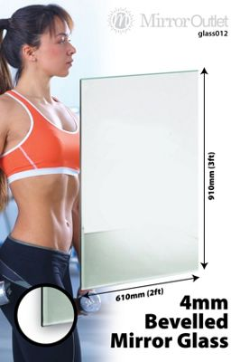 Bevelled Mirror Glass Home Gym Or Bathroom 4Mm Thick 3Ft X 2Ft (91Cm X 61Cm)