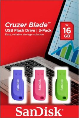 SanDisk Cruzer Blade USB 2.0 16GB Blue/Green/Pink Triple Pack