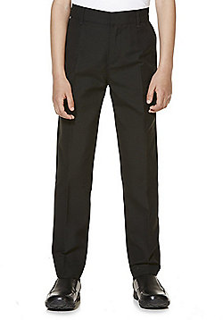 "F&F School 2 Pack of Boys Teflon EcoElite""™ Flat Front Slim Leg Longer Length Trousers - Black"