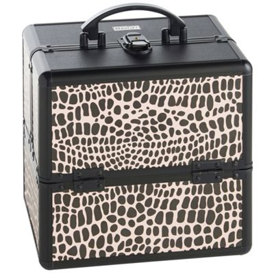 Beautify Small Black Crocodile Print Beauty Cosmetics Make Up Case