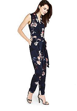 Wallis Blossom Print Wrap Front Jumpsuit - Navy
