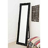 Large Classic Black Ornate Decorative Cheval Mirror 5Ft6 X 1Ft6 167cm x 46cm