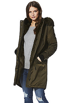 F&F Faux Fur Trim Padded Hooded Shower Resistant Parka - Khaki