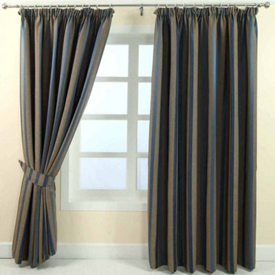 Homescapes Blue and Gold Jacquard Curtain Modern Striped Design Fully Lined - 90
