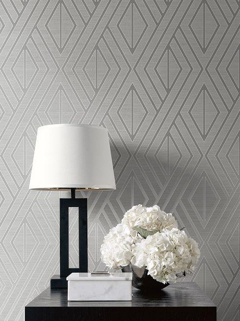 Geometric Wallpaper Grey and Silver UK30507 Pear Tree