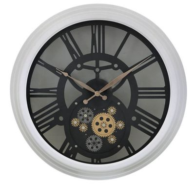Large White Gears Style Skeleton Wall Clock