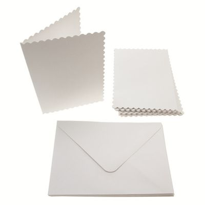 A6 Scalloped Card Blanks 300gsm 12Pk - White