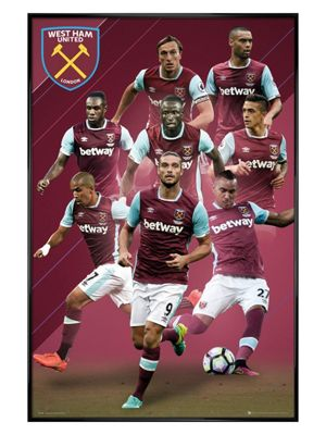 Gloss Black Framed West Ham Players 16/17 Poster 61x91.5cm,