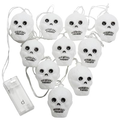 Andrew James Halloween Fairy Lights - Skull Shaped with White LED Bulbs - Battery Operated
