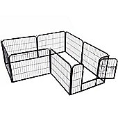 PawHut Dog Pet Puppy Metal Playpen Play Pen Hutch Run Enclosure Foldable Black 80 x 80 cm (Medium)