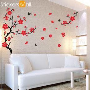 Plum Blossom Wall Sticker, Red
