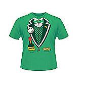Green St Patrick's Day Short Sleeve 100% Cotton Leprechaun Suit T-Shirt - Green