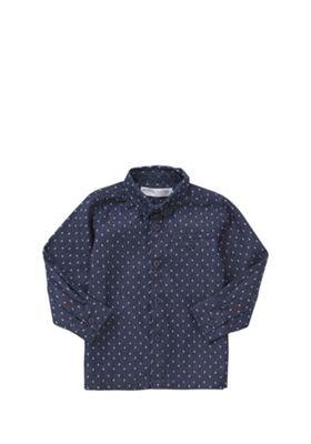 Minoti Diamond Print Chambray Shirt Blue 18-24 months