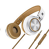 Promate Spectrum Universal Over-Ear Wired Headphones - White/Brown