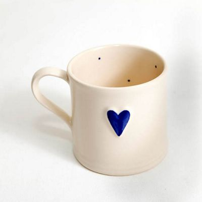 Deliverance Country Pottery Single 150ml Shaker Style Mug, Mid Blue Heart