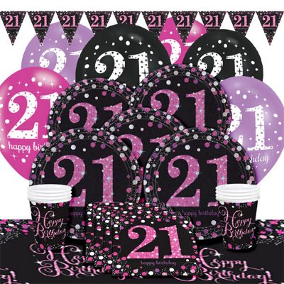 Pink Celebration 21st Birthday Party Pack - Deluxe Party for 8