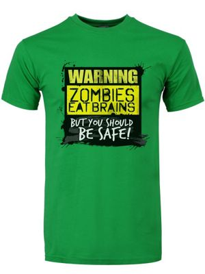Zombies Eat Brains, You Should Be Safe Green Men's T-shirt