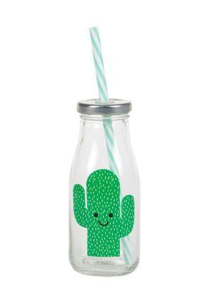 Happy Cactus Mini Milk Bottle With Straw Drinking Glass 5.5 x 14cm