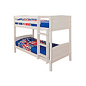 Comfy Living 3ft Single Children's Solid Wooden Bunk Bed in White with 2 Basic Budget Mattresses