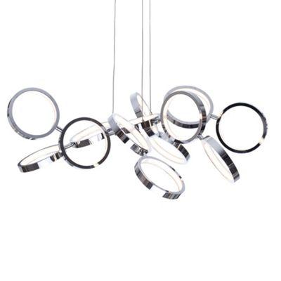 Litecraft Hoops 13 Bulb Ring Ceiling Pendant, Chrome