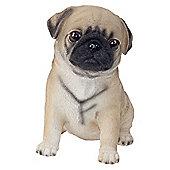 Realistic 15cm Sitting Brown Pug Puppy Dog Statue Ornament