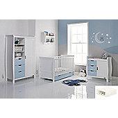 Obaby Stamford Cot Bed 4 Piece Pocket Sprung mattress Nursery Room Set - White with Bonbon Blue