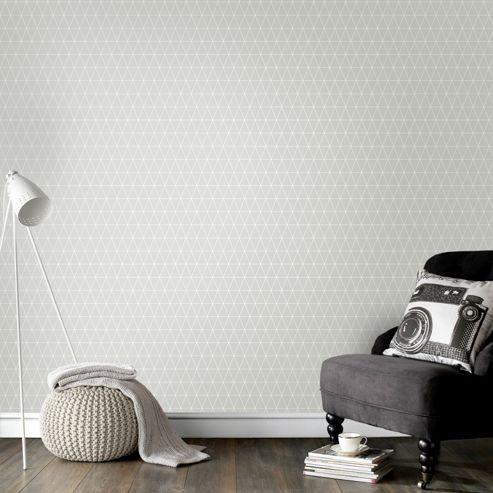 Superfresco Easy Paste The Wall Triangolin Geometric Grey Wallpaper