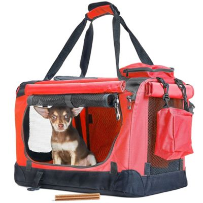 Andrew James Pet Carrier - Strong Metal & Fabric Carry Case for Small Dogs & Cats - Red