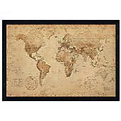 Geographical World Map Black Wooden Framed Antique Style Map Poster