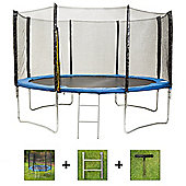Up and About 12ft Stormpower Blue Trampoline Package with Free Ladder, Weather Cover and Building Tool