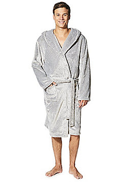 F&F Premium Striped Hooded Dressing Gown - Grey