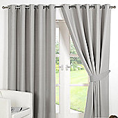 Dreamscene Eyelet Blackout Curtains PAIR of Thermal Ring Top Ready Made Luxury - Silver
