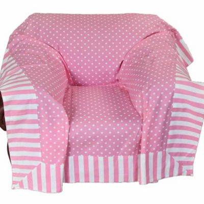 Homescapes Cotton Pink Polka Dots and Stripes Sofa Throw