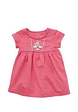 F&F Textured Floral Print Smock Dress - Pink