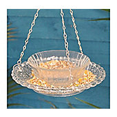 Hobnail Glass Round Hanging Bird Feeder and Bath