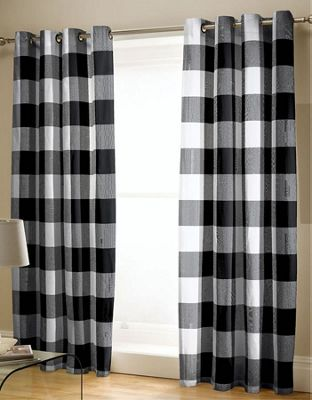 Catherine Lansfield Boston Check Easy Care Curtains Black, 66x72 Inch