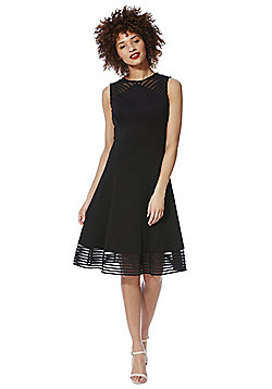 Roman Originals Striped Mesh Trim Skater Dress - Black